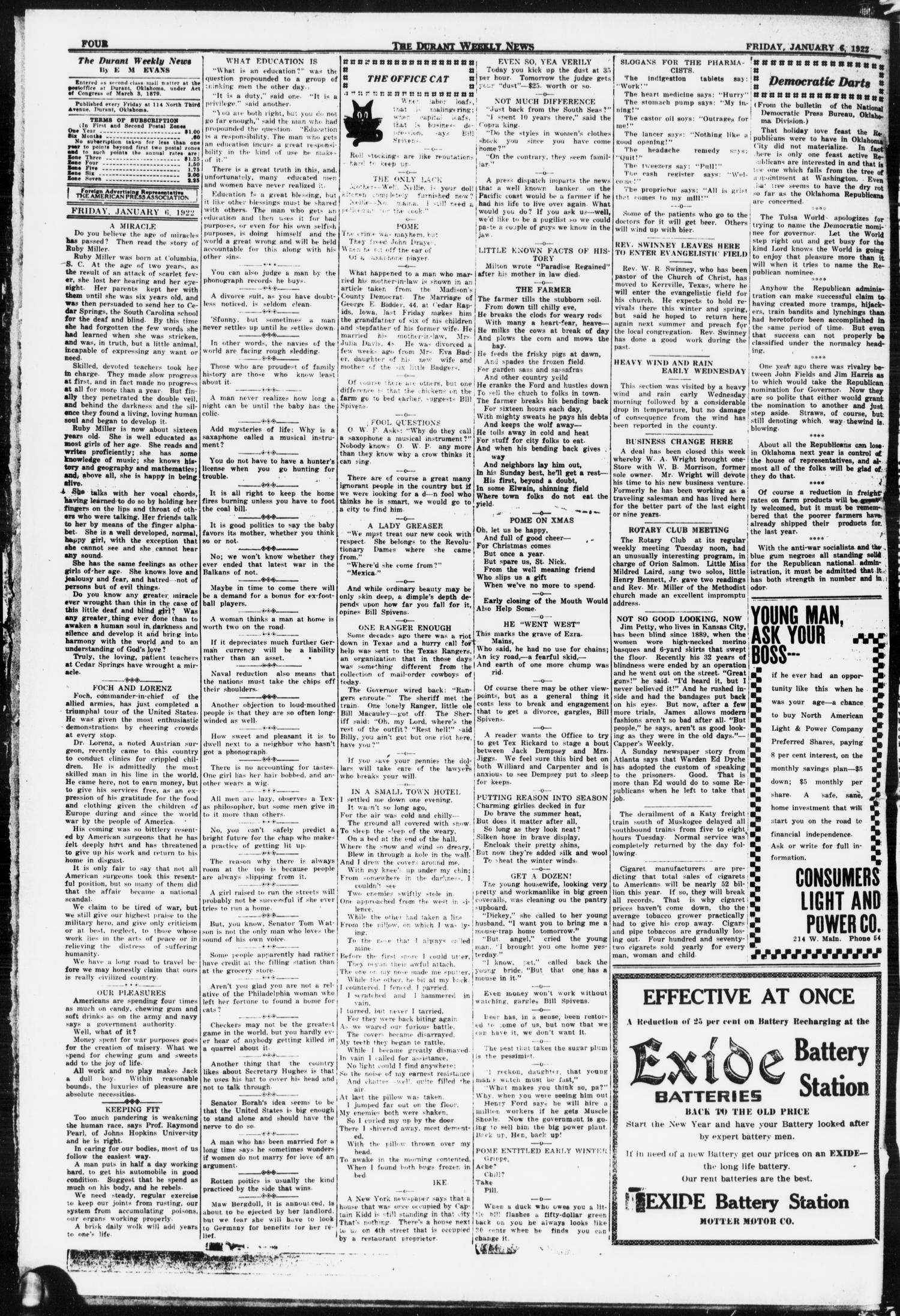 The Durant Weekly News (Durant, Okla.), Vol. 25, No. 1, Ed. 1, Friday, January 6, 1922                                                                                                      [Sequence #]: 4 of 8
