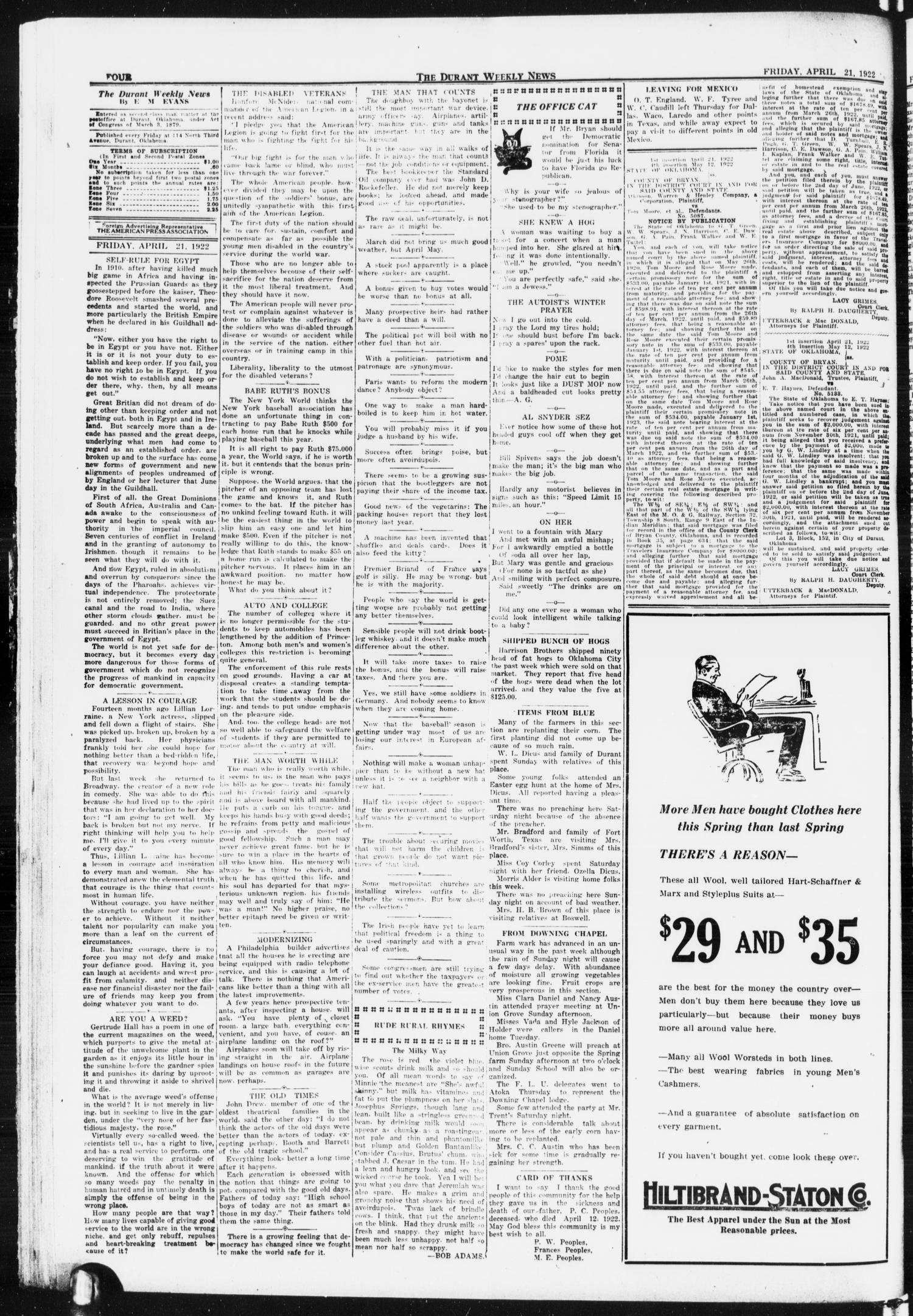 The Durant Weekly News (Durant, Okla.), Vol. 25, No. 16, Ed. 1, Friday, April 21, 1922                                                                                                      [Sequence #]: 4 of 8