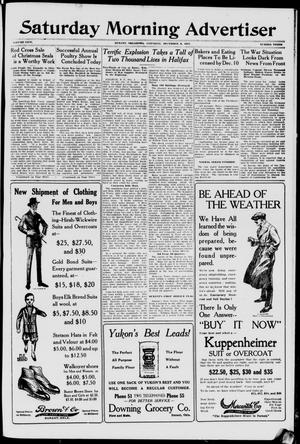 Primary view of object titled 'Saturday Morning Advertiser (Durant, Okla.), Vol. 5, No. 3, Ed. 1, Saturday, December 8, 1917'.