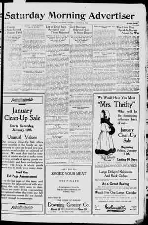 Primary view of object titled 'Saturday Morning Advertiser (Durant, Okla.), Vol. 5, No. 8, Ed. 1, Saturday, January 12, 1918'.