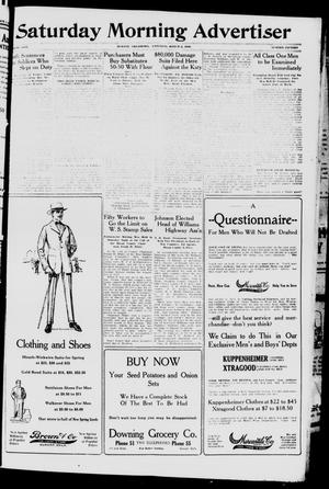 Primary view of object titled 'Saturday Morning Advertiser (Durant, Okla.), Vol. 5, No. 15, Ed. 1, Saturday, March 2, 1918'.