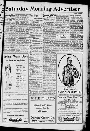 Primary view of object titled 'Saturday Morning Advertiser (Durant, Okla.), Vol. 5, No. 19, Ed. 1, Saturday, March 30, 1918'.