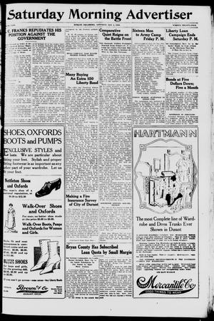Primary view of object titled 'Saturday Morning Advertiser (Durant, Okla.), Vol. 5, No. 24, Ed. 1, Saturday, May 4, 1918'.