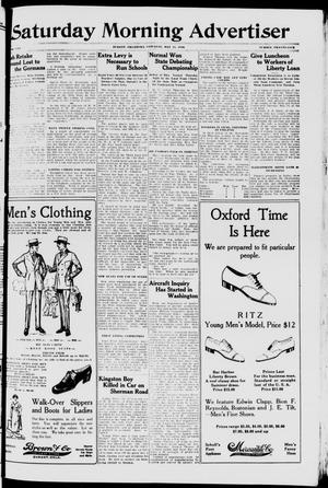 Primary view of object titled 'Saturday Morning Advertiser (Durant, Okla.), Vol. 5, No. 25, Ed. 1, Saturday, May 11, 1918'.