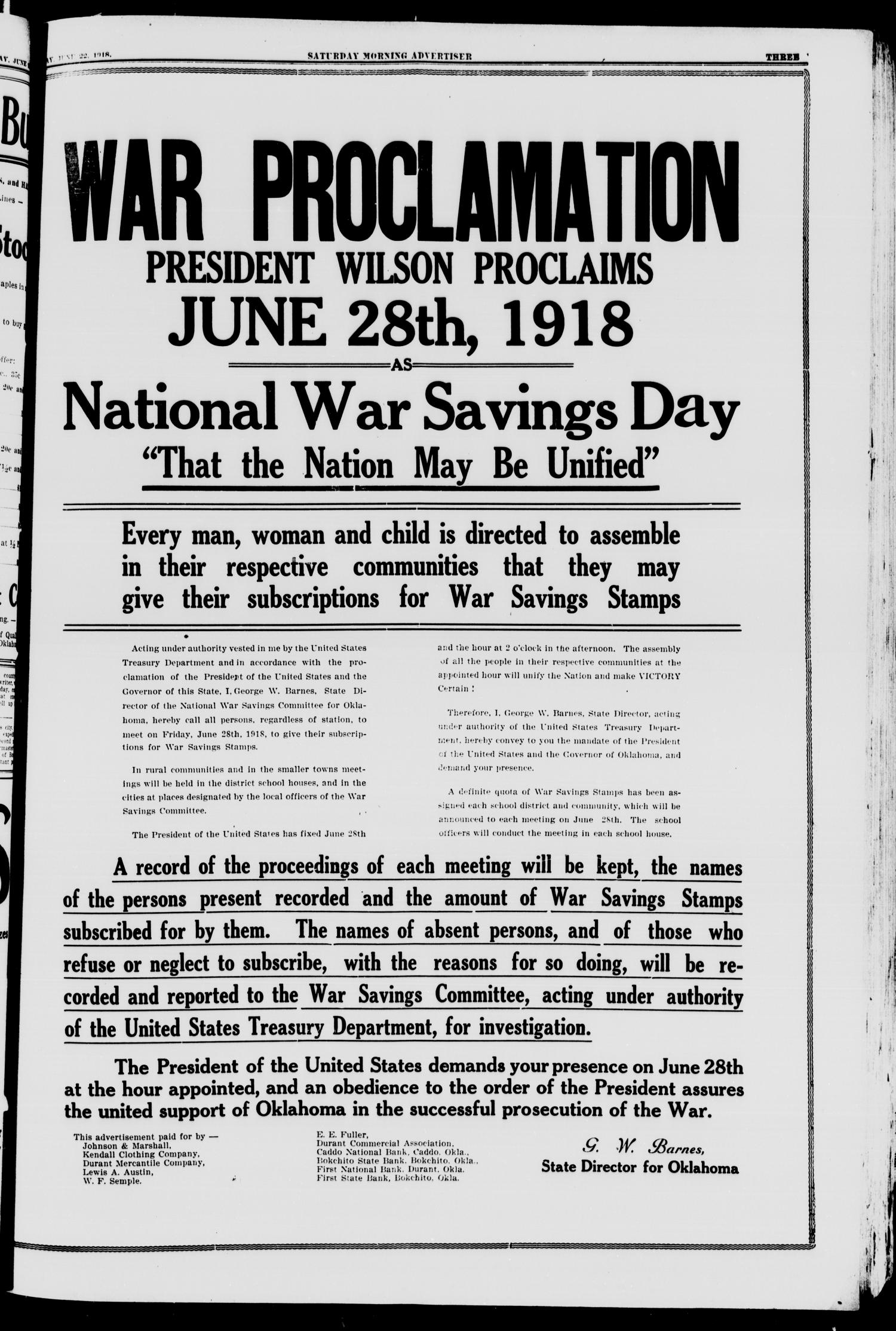 Saturday Morning Advertiser (Durant, Okla.), Vol. 5, No. 31, Ed. 1, Saturday, June 22, 1918                                                                                                      [Sequence #]: 3 of 8