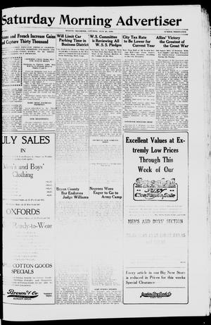 Primary view of object titled 'Saturday Morning Advertiser (Durant, Okla.), Vol. 5, No. 35, Ed. 1, Saturday, July 20, 1918'.