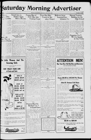 Primary view of object titled 'Saturday Morning Advertiser (Durant, Okla.), Vol. 5, No. 40, Ed. 1, Saturday, August 24, 1918'.