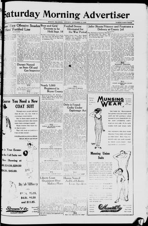 Primary view of object titled 'Saturday Morning Advertiser (Durant, Okla.), Vol. 5, No. 43, Ed. 1, Saturday, September 14, 1918'.