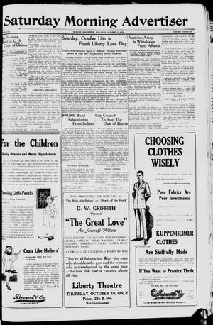 Primary view of Saturday Morning Advertiser (Durant, Okla.), Vol. 5, No. 46, Ed. 1, Saturday, October 5, 1918