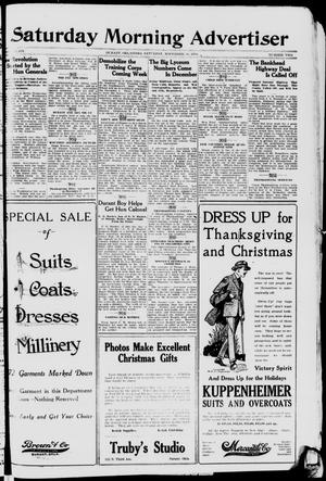Primary view of object titled 'Saturday Morning Advertiser (Durant, Okla.), Vol. 6, No. 2, Ed. 1, Saturday, November 30, 1918'.