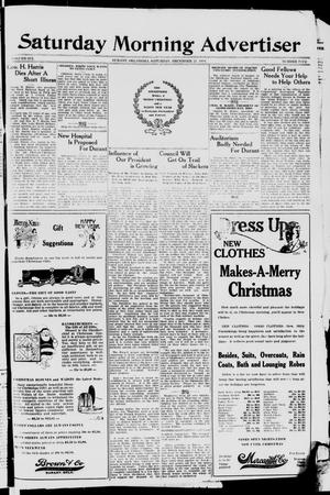 Primary view of object titled 'Saturday Morning Advertiser (Durant, Okla.), Vol. 6, No. 5, Ed. 1, Saturday, December 21, 1918'.