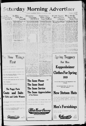 Primary view of object titled 'Saturday Morning Advertiser (Durant, Okla.), Vol. 6, No. 12, Ed. 1, Saturday, February 8, 1919'.