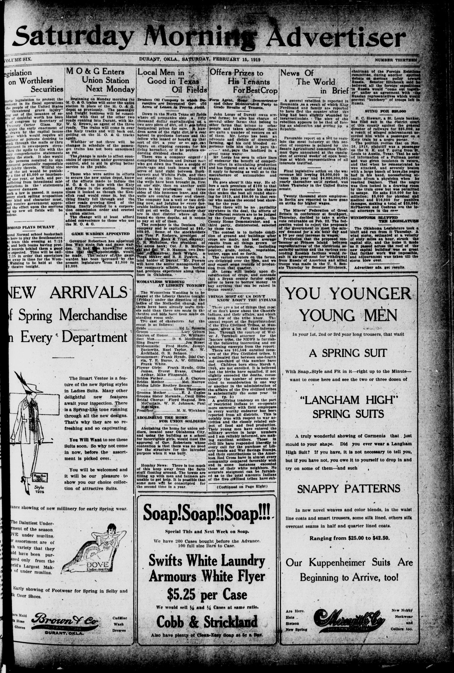 Saturday Morning Advertiser (Durant, Okla.), Vol. 6, No. 13, Ed. 1, Saturday, February 15, 1919                                                                                                      [Sequence #]: 1 of 8