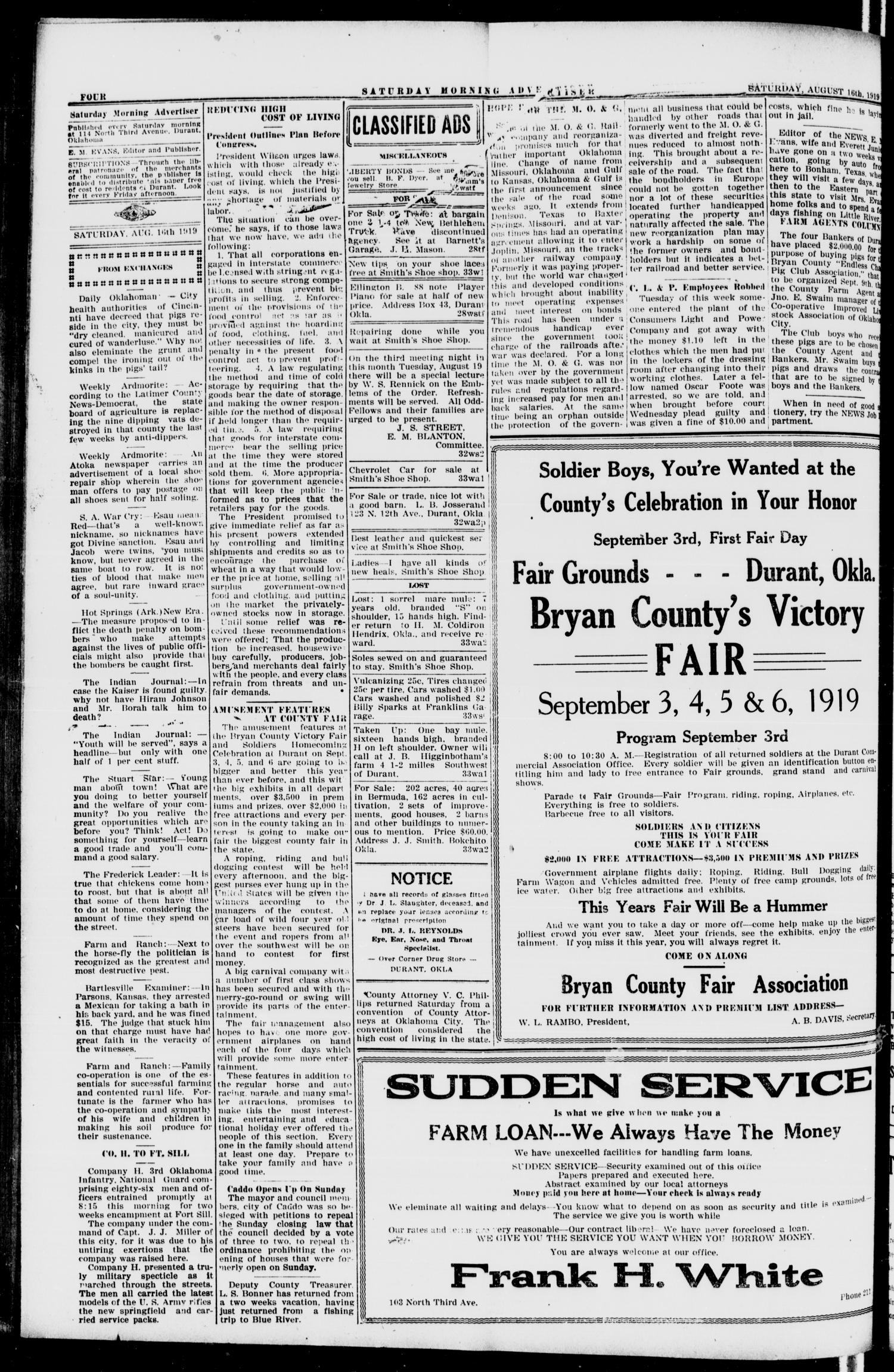 Saturday Morning Advertiser (Durant, Okla.), Vol. 6, No. 39, Ed. 1, Saturday, August 16, 1919                                                                                                      [Sequence #]: 4 of 8
