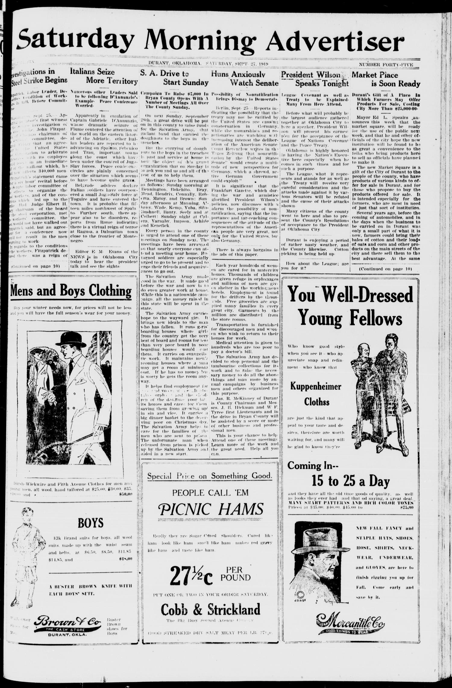 Saturday Morning Advertiser (Durant, Okla.), Vol. 6, No. 45, Ed. 1, Saturday, September 27, 1919                                                                                                      [Sequence #]: 1 of 10