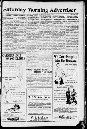 Primary view of object titled 'Saturday Morning Advertiser (Durant, Okla.), Vol. 7, No. 1, Ed. 1, Saturday, November 22, 1919'.