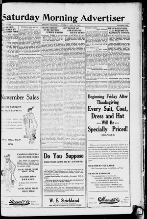Primary view of object titled 'Saturday Morning Advertiser (Durant, Okla.), Vol. 7, No. 2, Ed. 1, Saturday, November 29, 1919'.
