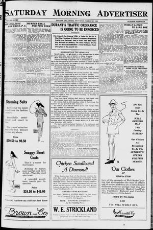 Primary view of object titled 'Saturday Morning Advertiser (Durant, Okla.), Vol. 7, No. 19, Ed. 1, Saturday, March 27, 1920'.