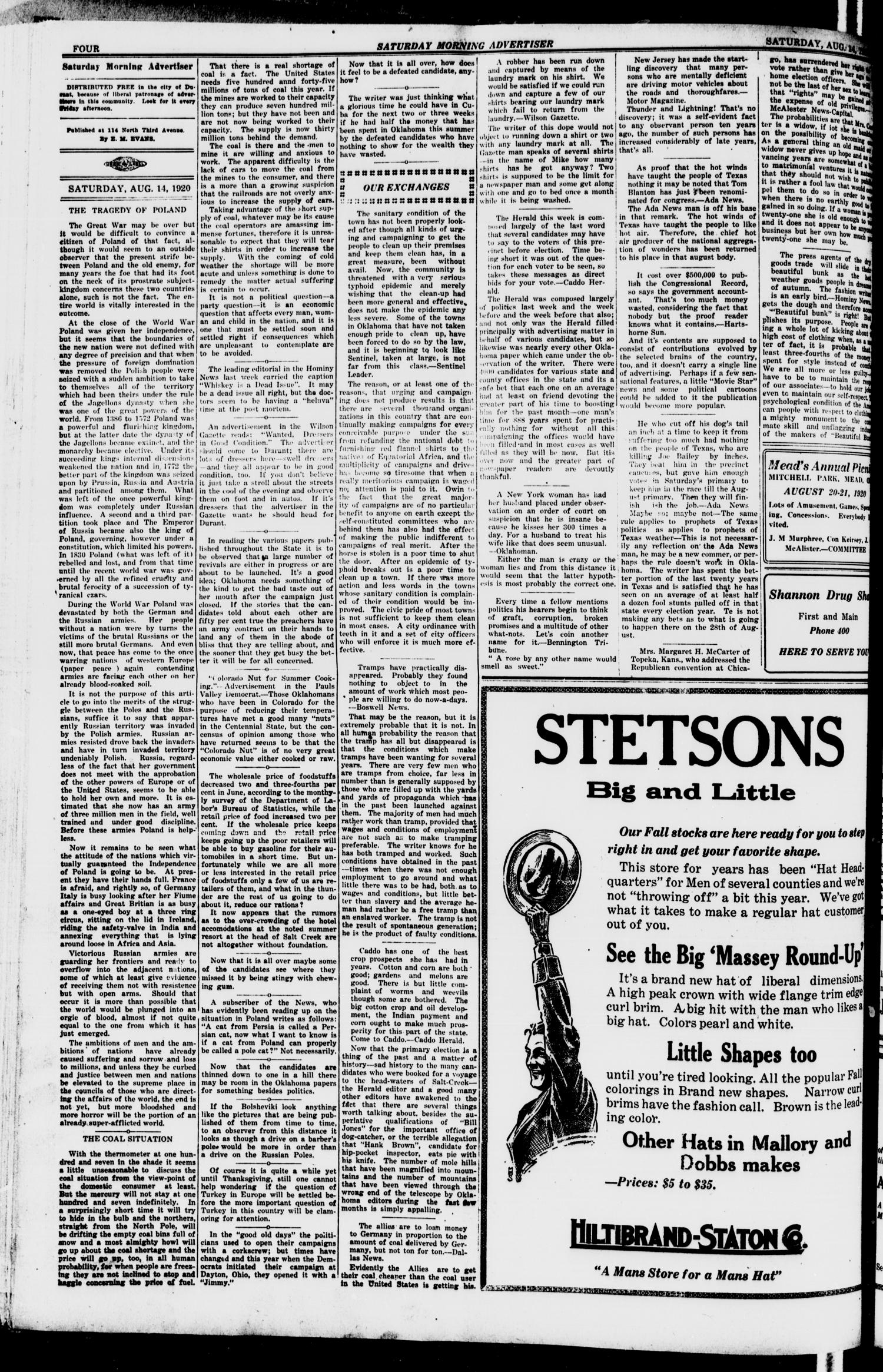 Saturday Morning Advertiser (Durant, Okla.), Vol. 7, No. 29, Ed. 1, Saturday, August 14, 1920                                                                                                      [Sequence #]: 4 of 8
