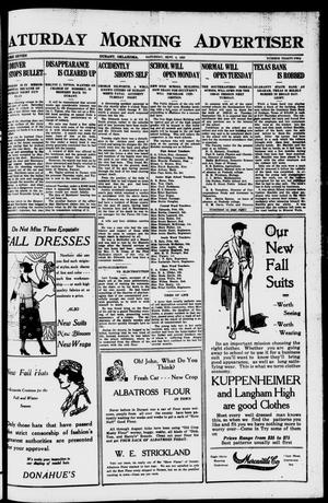 Primary view of object titled 'Saturday Morning Advertiser (Durant, Okla.), Vol. 7, No. 32, Ed. 1, Saturday, September 4, 1920'.