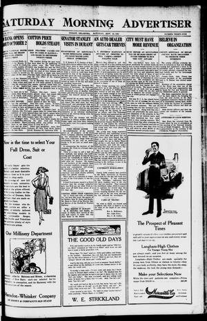 Primary view of object titled 'Saturday Morning Advertiser (Durant, Okla.), Vol. 7, No. 35, Ed. 1, Saturday, September 25, 1920'.