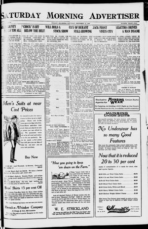 Primary view of object titled 'Saturday Morning Advertiser (Durant, Okla.), Vol. 7, No. 32, Ed. 1, Saturday, November 13, 1920'.