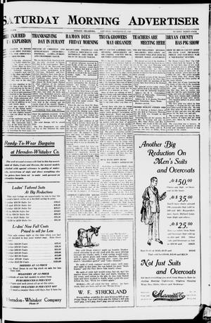 Primary view of object titled 'Saturday Morning Advertiser (Durant, Okla.), Vol. 7, No. 34, Ed. 1, Saturday, November 27, 1920'.