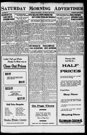 Primary view of object titled 'Saturday Morning Advertiser (Durant, Okla.), Vol. 7, No. 45, Ed. 1, Saturday, February 12, 1921'.