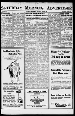 Primary view of object titled 'Saturday Morning Advertiser (Durant, Okla.), Vol. 7, No. 46, Ed. 1, Saturday, February 19, 1921'.