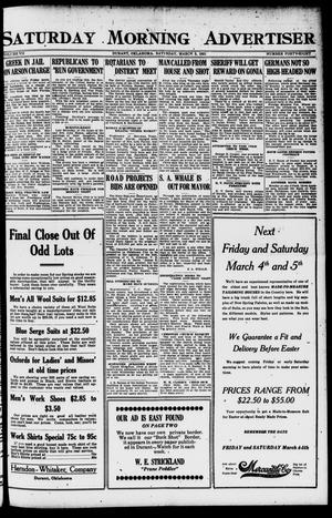 Primary view of object titled 'Saturday Morning Advertiser (Durant, Okla.), Vol. 7, No. 48, Ed. 1, Saturday, March 5, 1921'.