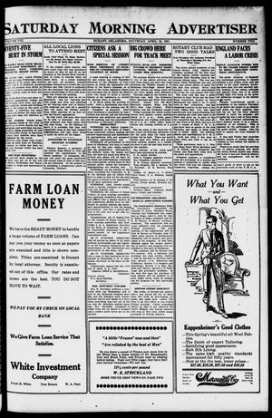 Primary view of object titled 'Saturday Morning Advertiser (Durant, Okla.), Vol. 8, No. 2, Ed. 1, Saturday, April 16, 1921'.