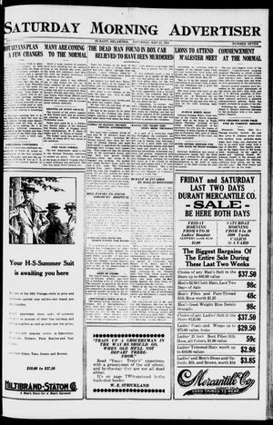 Primary view of object titled 'Saturday Morning Advertiser (Durant, Okla.), Vol. 8, No. 7, Ed. 1, Saturday, May 21, 1921'.