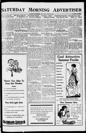Primary view of object titled 'Saturday Morning Advertiser (Durant, Okla.), Vol. 8, No. 11, Ed. 1, Saturday, June 18, 1921'.