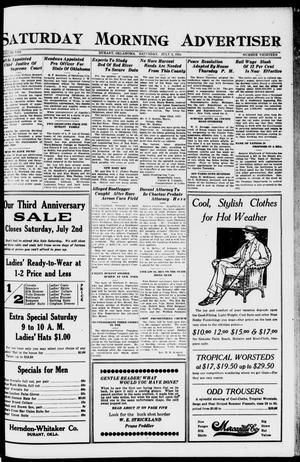 Primary view of object titled 'Saturday Morning Advertiser (Durant, Okla.), Vol. 8, No. 13, Ed. 1, Saturday, July 2, 1921'.