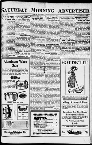 Primary view of object titled 'Saturday Morning Advertiser (Durant, Okla.), Vol. 8, No. 14, Ed. 1, Saturday, July 9, 1921'.