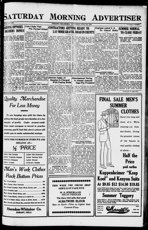 Primary view of object titled 'Saturday Morning Advertiser (Durant, Okla.), Vol. 8, No. 15, Ed. 1, Saturday, July 16, 1921'.
