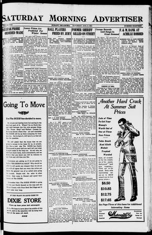 Primary view of object titled 'Saturday Morning Advertiser (Durant, Okla.), Vol. 8, No. 18, Ed. 1, Saturday, August 6, 1921'.