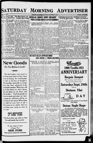 Primary view of object titled 'Saturday Morning Advertiser (Durant, Okla.), Vol. 8, No. 17, Ed. 1, Saturday, September 24, 1921'.