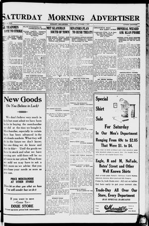 Primary view of object titled 'Saturday Morning Advertiser (Durant, Okla.), Vol. 8, No. 18, Ed. 1, Saturday, October 1, 1921'.