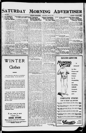 Primary view of object titled 'Saturday Morning Advertiser (Durant, Okla.), Vol. 8, No. 21, Ed. 1, Saturday, October 22, 1921'.
