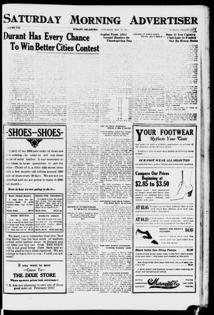 Primary view of object titled 'Saturday Morning Advertiser (Durant, Okla.), Vol. 8, No. 25, Ed. 1, Saturday, November 19, 1921'.