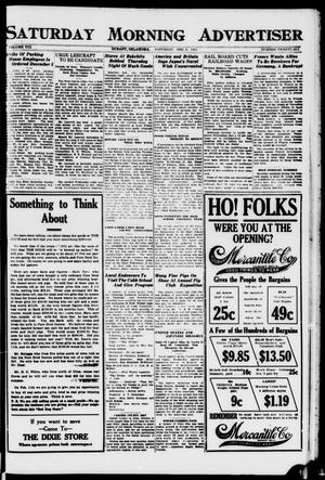 Primary view of object titled 'Saturday Morning Advertiser (Durant, Okla.), Vol. 8, No. 26, Ed. 1, Saturday, December 3, 1921'.