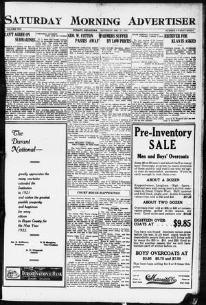 Primary view of object titled 'Saturday Morning Advertiser (Durant, Okla.), Vol. 8, No. 28, Ed. 1, Saturday, December 31, 1921'.