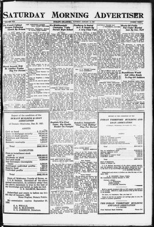 Primary view of object titled 'Saturday Morning Advertiser (Durant, Okla.), Vol. 8, No. 30, Ed. 1, Saturday, January 14, 1922'.