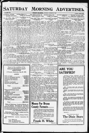 Primary view of object titled 'Saturday Morning Advertiser (Durant, Okla.), Vol. 8, No. 31, Ed. 1, Saturday, January 21, 1922'.