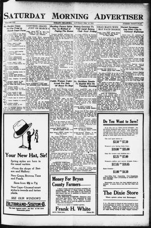 Primary view of object titled 'Saturday Morning Advertiser (Durant, Okla.), Vol. 8, No. 35, Ed. 1, Saturday, February 18, 1922'.