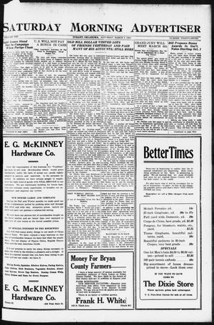 Primary view of object titled 'Saturday Morning Advertiser (Durant, Okla.), Vol. 8, No. 37, Ed. 1, Saturday, March 4, 1922'.