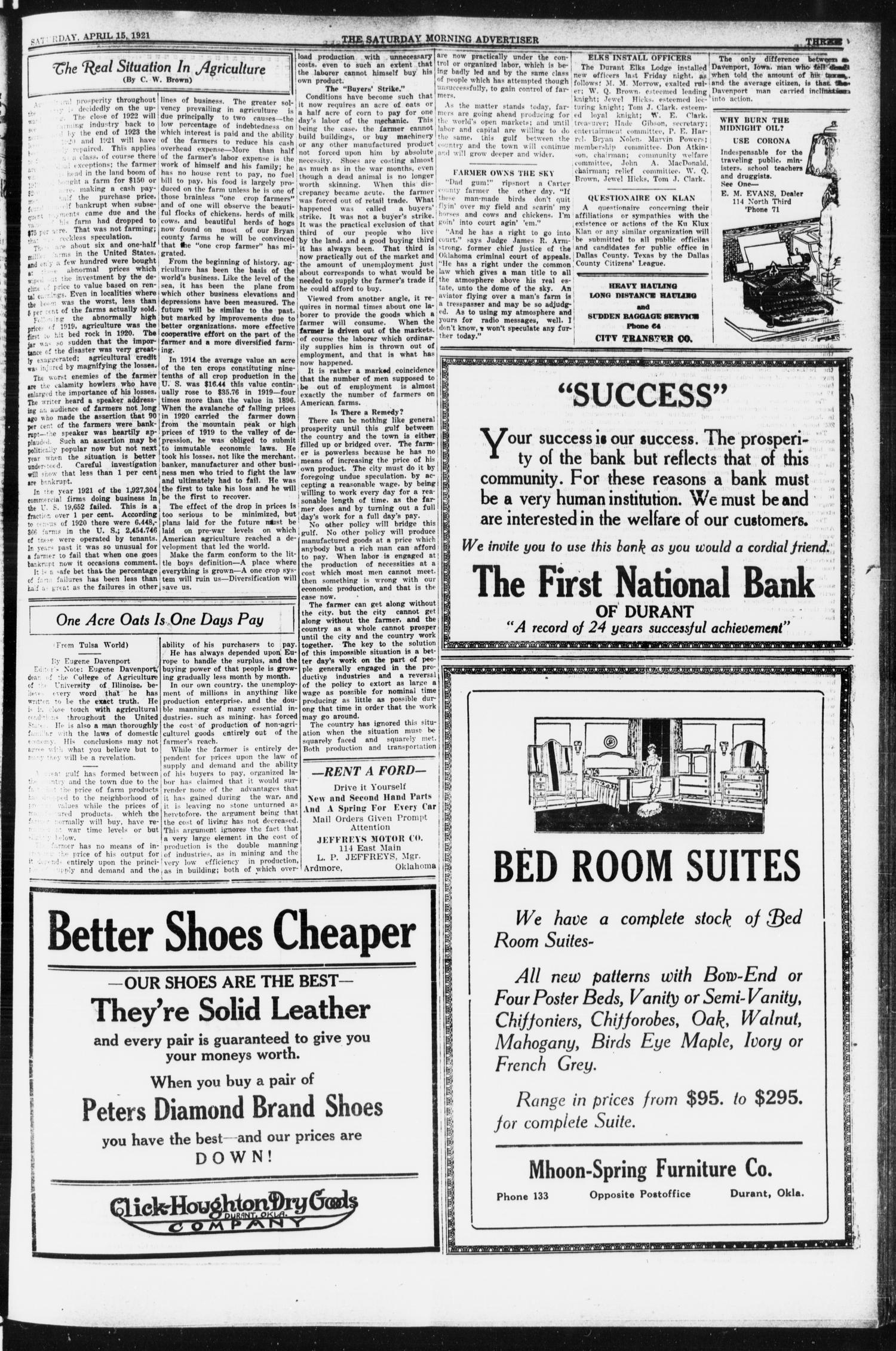 Saturday Morning Advertiser (Durant, Okla.), Vol. 8, No. 43, Ed. 1, Saturday, April 15, 1922                                                                                                      [Sequence #]: 3 of 8