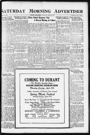 Primary view of object titled 'Saturday Morning Advertiser (Durant, Okla.), Vol. 8, No. 44, Ed. 1, Saturday, April 22, 1922'.