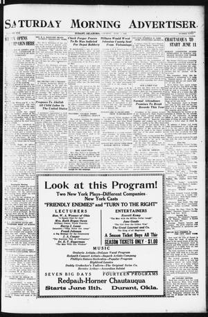 Primary view of object titled 'Saturday Morning Advertiser (Durant, Okla.), Vol. 8, No. 50, Ed. 1, Saturday, June 3, 1922'.